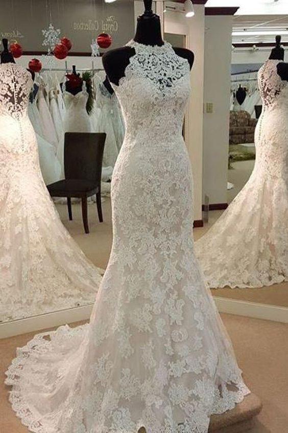 Elegant Mermaid Sleeveless Lace Wedding Dress,Cheap Bridal Dresses OKC74 – Okdresses