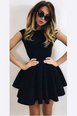 Cute A-Line Homecoming Dresses Black Ball Gown Backless Short Prom Dresses HCD29
