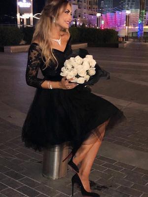 Lace Long Sleeve V-neck Little Black Dress, Short/Mini Party Dress UK Sale, OP150– ombreprom.co.uk