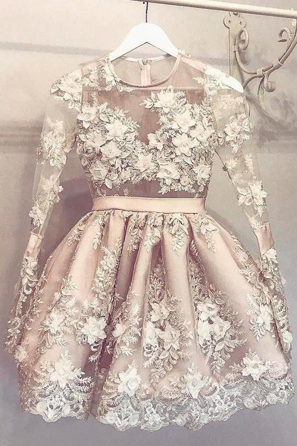 Long Sleeve Homecoming Dress Flower Short Prom Dress Party Dress, – Simibridaldress