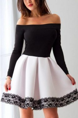 Long Sleeve White and Black A Line Short Prom Dress,Cheap Homecoming Dresses OKC90 – Okdresses