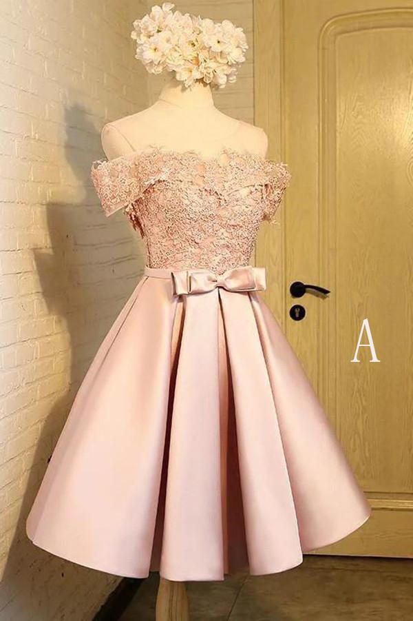 Off the Shoulder Short Prom Dress,A Line Appliques Bow-knot Homecoming Dress OKC85 – Okdresses