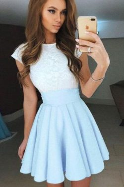 Pale Blue Cap Sleeves Short Chiffon Homecoming Dress,Mini Prom Dress – Simibridaldress