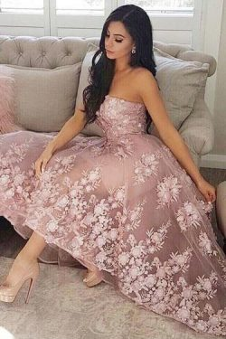 Princess A-Line Sweetheart Blush Homecoming Dress with Lace Appliques – Okdresses