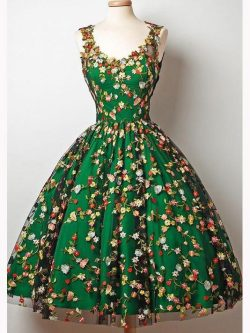Tea-Length Green Homecoming Dress, Short Prom Dress with Florals, OP144 – ombreprom.co.uk