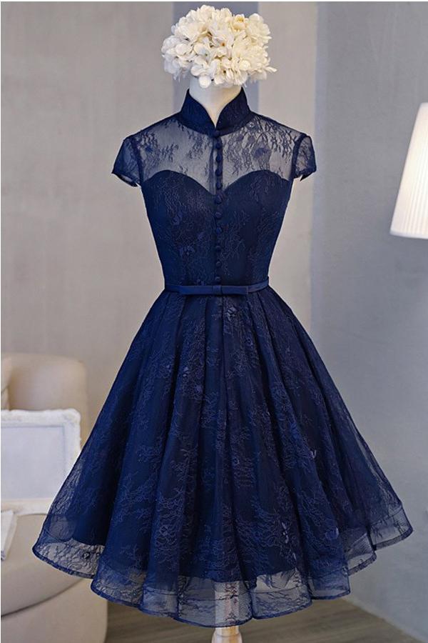 Vintage A-line High Neck Short Sleeve Navy Blue Lace Homecoming Dress – Okdresses
