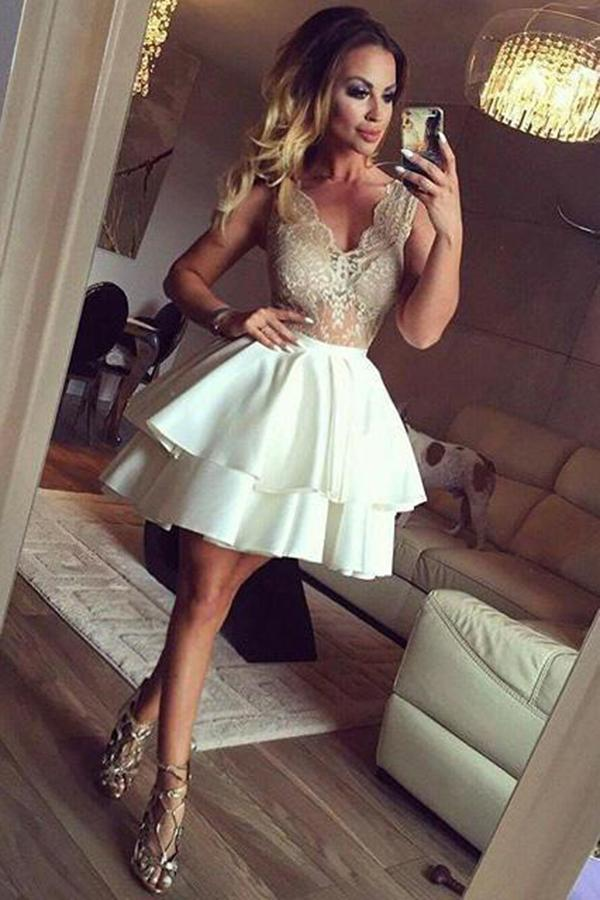 Sexy V Neck See Through With Lace Appliques Homecoming Dress M531