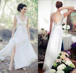 Schlichte Chiffon Sommer Kleider Brautkleider Mit Spitze Bodenlange Hochzeitskleider