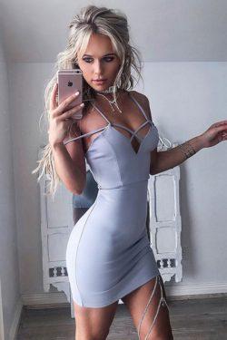 Sexy Spaghetti Straps Light Blue A Line Short Homecoming Dress M617