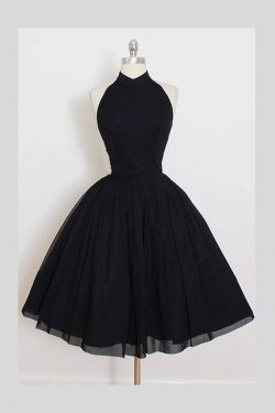 A Line Sleeveless Homecoming Dress, Simple Halter Party Dresses, Black Graduation Dress – Simibr ...