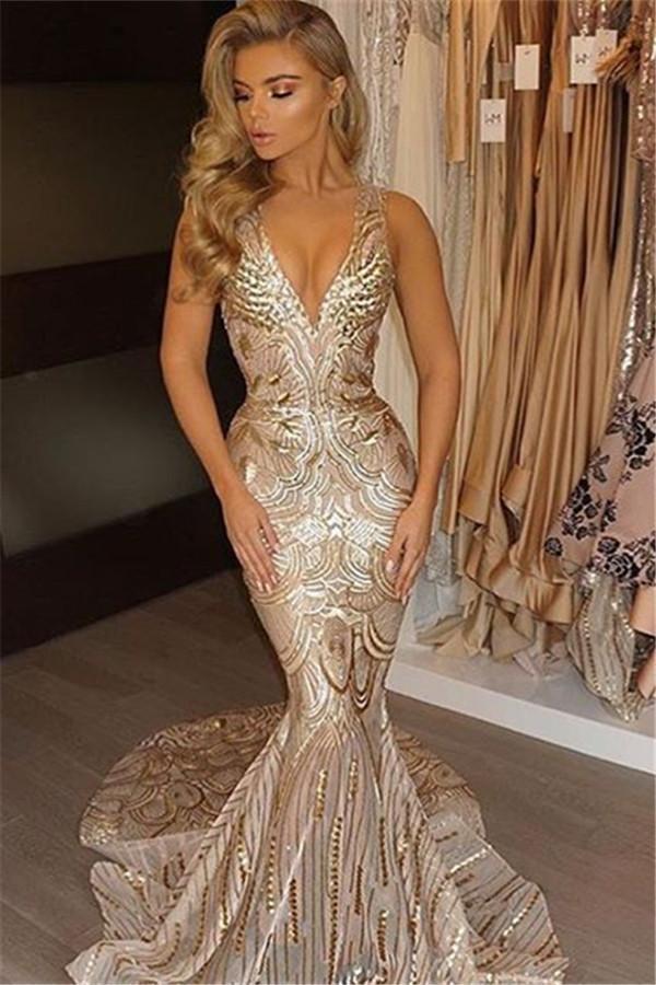 Charming Mermaid Trumpet Deep V Neck Sleeveless Sparkle Long Prom Dresses OKD78 – Okdresses