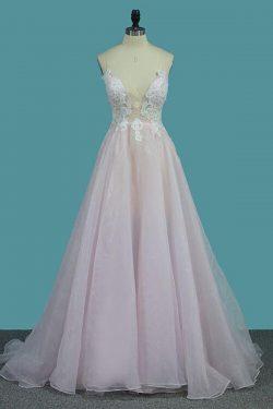 Deep V Neck Light Pink A Line Prom Dress, Spaghetti Straps Appliques Sexy Prom Dress – Simibrida ...