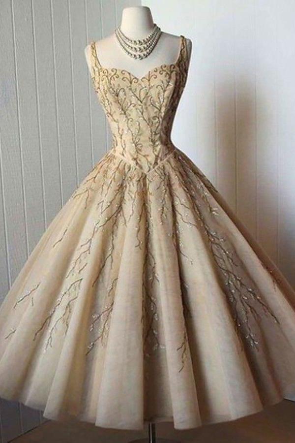 Elegant A-Line Straps Sweetheart Tea-Length Sleeveless Homecoming Dresses OKD92 – Okdresses