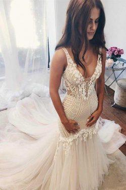 Modest Mermaid Ivory Sexy Sleeveless Lace Wedding Dresses OKC82 – Okdresses