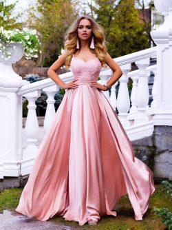 Elegante Rosa Abendkleider Lang Günstig Mit Spitze Etuikleider Abiballkleider