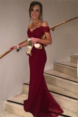 Günstige Abendkleider Lang Wienrot Mit Spitze Schulterfrei Meerjungfrau Abendmoden Online