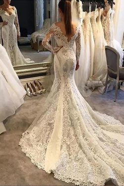 Romantic Deep V Neck With Lace Appliques Wedding Dresses W356