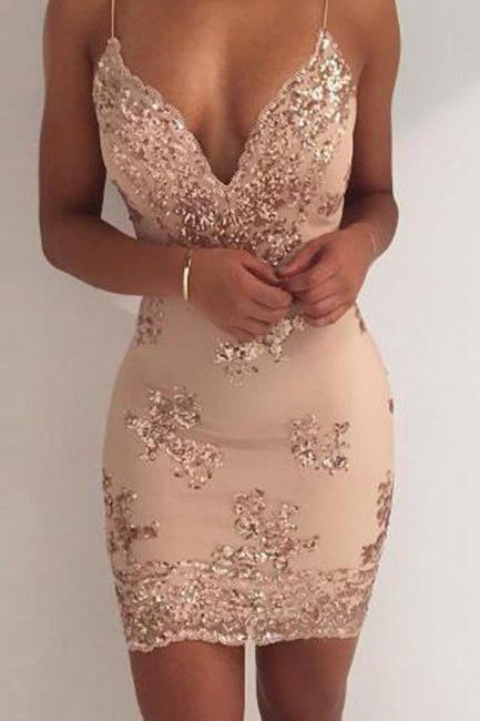 Sexy Sequin Sheath Spaghetti Straps Homecoming Dress,Cocktail Party Dresses OKD49 – Okdresses