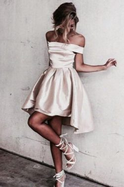 Simple A-Line Off the Shoulder High Low Satin Sleeveless Homecoming Dress OKD67 – Okdresses
