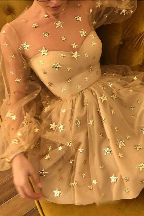 Sparkle Long Sleeve Short Unique Sheer Neck Stars Mini Homecoming Dress OKD50 – Okdresses