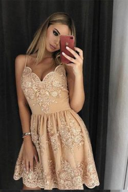 Stylish A-Line Spaghetti Straps Short Homecoming Dress with Lace Appliques OKD14 – Okdresses