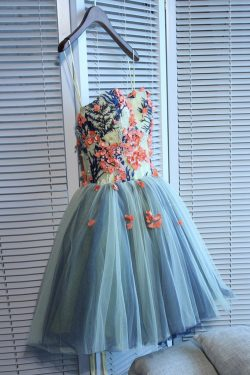 Unique Sweetheart Tulle Mini Homecoming Dress with Flowers,A Line Short Prom Gown – Simibridaldress