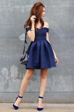 Charming Off the Shoulder A Line Sleeveless Knee Length Homecoming Dress M599