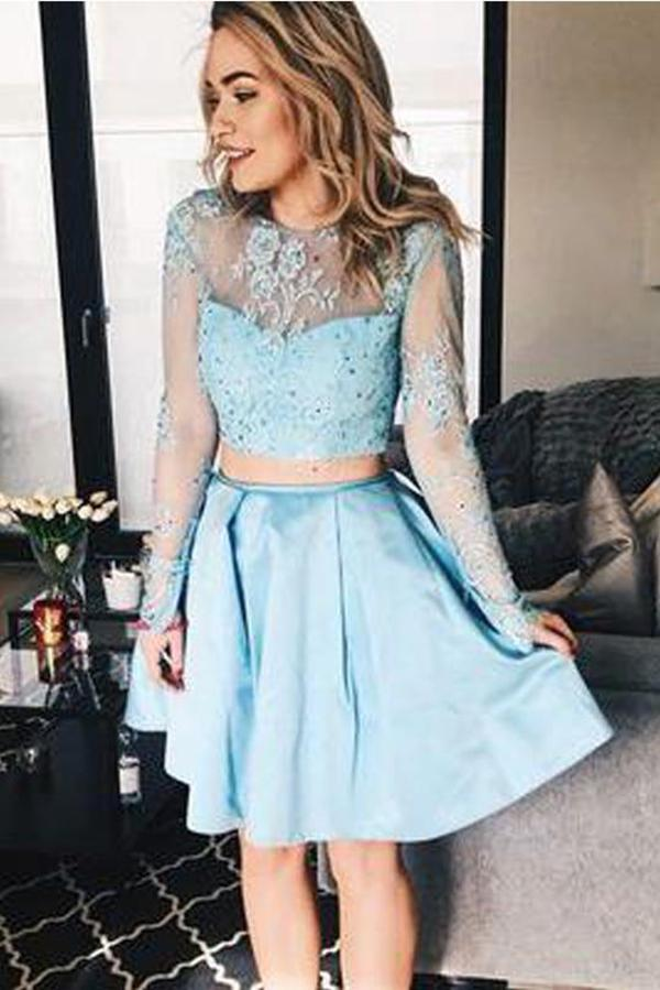 Cute Two Pieces Round Neck Long Sleeves Lace Homecoming Dress M601