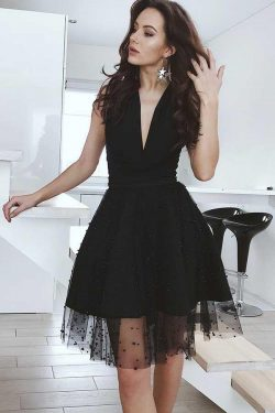 Charming Black Deep V Neck Sleevelesss Homecoming Dress M605