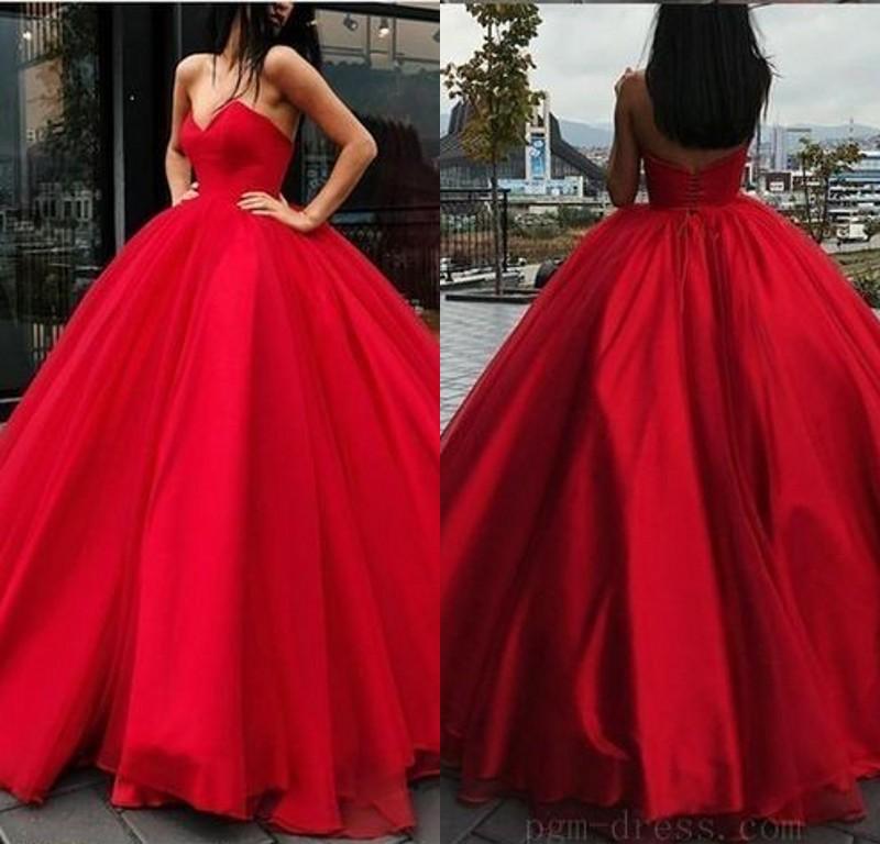Fashion Rote Abendkleider Lang Günstig Prinzessin Organza Abendkleid Abiballkleider