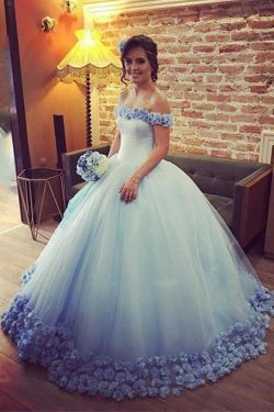 Gorgeous Off the Shoulder Tulle Ball Gown Long Wedding Dresses W373