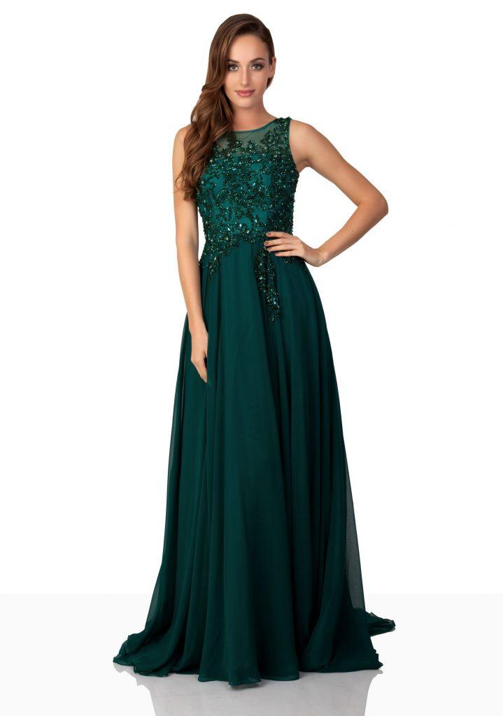Fashion Dunkel Grüne Abendkleider Lang Chiffon Mit Spitze Abiballkleider Günstig