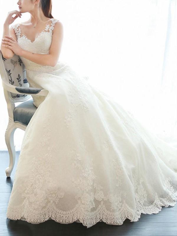 Schlichte Creme Brautkleider Spitze A Linie Hochzeitskleider Günstig Online
