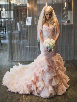 Altrosa Brautkleider Mit Perlen Günstig Hochzeitskleider Organza Online