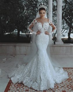 Luxury Brautkleider Spitze Weiße Hochzeitskleider Mit Ärmel Schleier