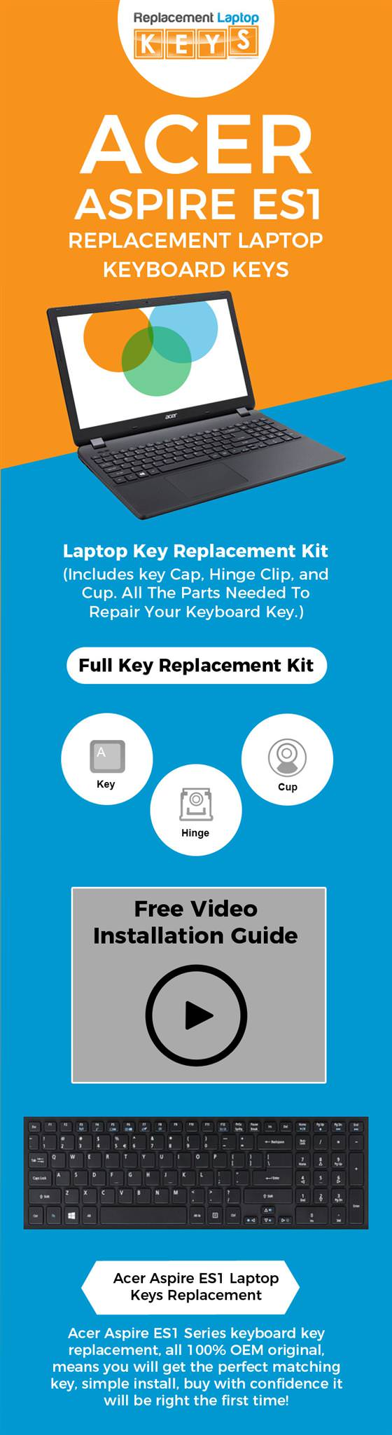 Buy Acer Aspire ES1 Replacement Keyboard Keys Online from Replacement Laptop Keys