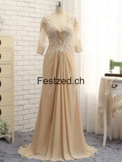 Champagner V-Ausschnitt Chiffon Brautmutterkleider