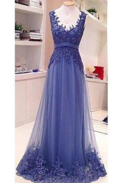 Simple Backless See Through Lace Appliques Floor Length Formal Prom Dress P803