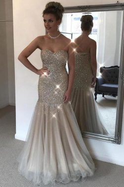 Stunning Sweetheart Mermaid Strapless Tulle With Beading A Line Prom Dress P806