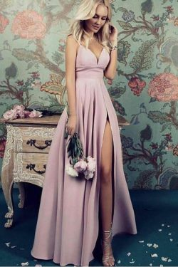 Charming Deep V Neck Straps Satin Floor Length Prom Dresses P613