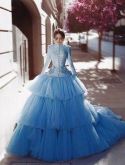 Vintage Brautkleider Frabig Blau Hochzeitskleider Spitz Mit Ärmel