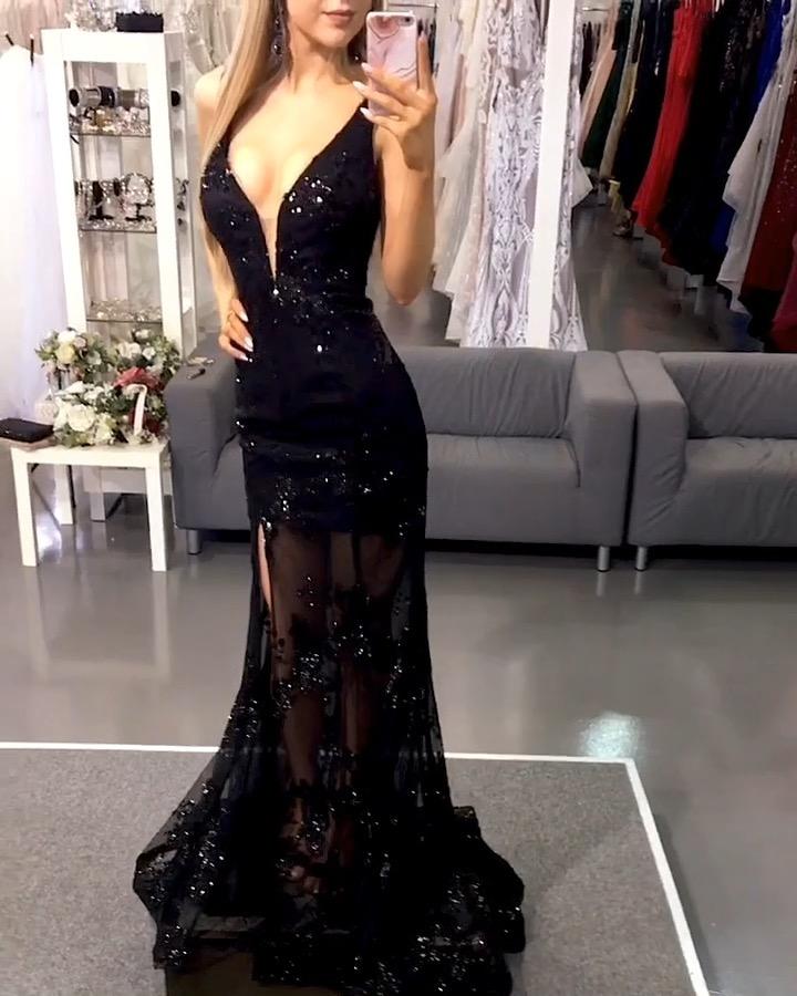Schwarze Abendkleider Lang Spitze Bodenlang Abendmoden Abiballkleider