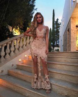 Elegante Spitze Abendkleider Lang Günstig Abiballkleider Online