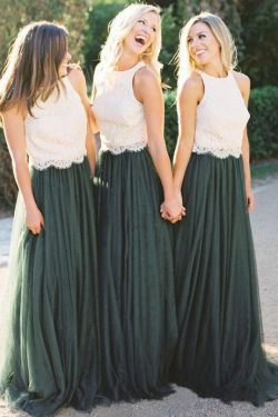 A Line Lace Bodice Green and White Tulle Long Round Neck Bridesmaid Dresses UK PW285 on sale – P ...