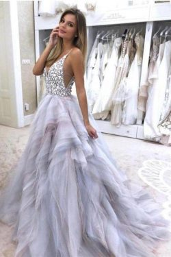 A Line Spaghetti Straps V Neck Silver Tulle Long Wedding Dresses with Rhinestones PW281 on sale  ...