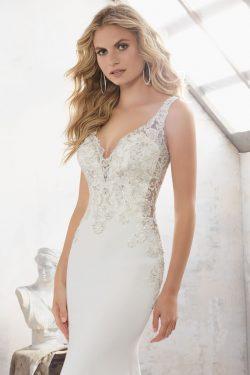 2018 abierto atractivo de espalda cuello en V vestidos de boda de la sirena del Spandex con apli ...