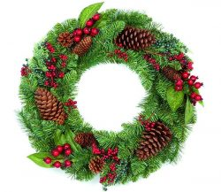 Natural Pine Cone and Red Berry Christmas Wreath