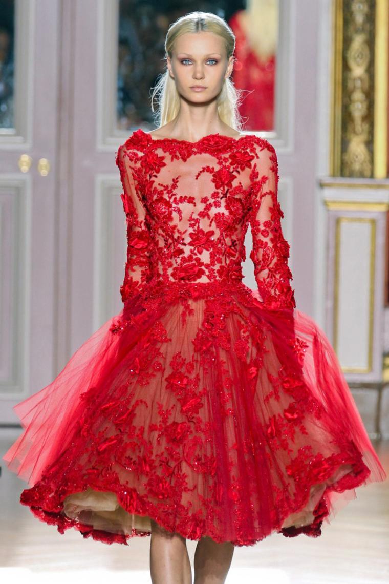 2018 completa mangas Bateau vestidos de baile una línea con apliques de tul rojo US$ 209.99 VTOP ...
