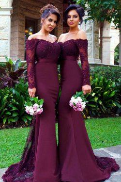 2019 con apliques vestidos de dama de manga larga de la sirena de satén US$ 199.99 VTOPMYHCQD9 & ...