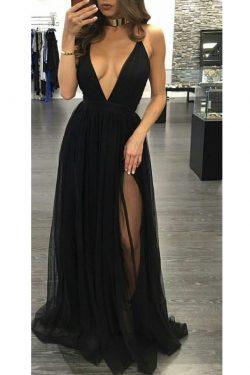 2018 correas de espagueti una línea vestidos de noche de tul con la raja US$ 119.99 VTOPX8Z4BSR  ...